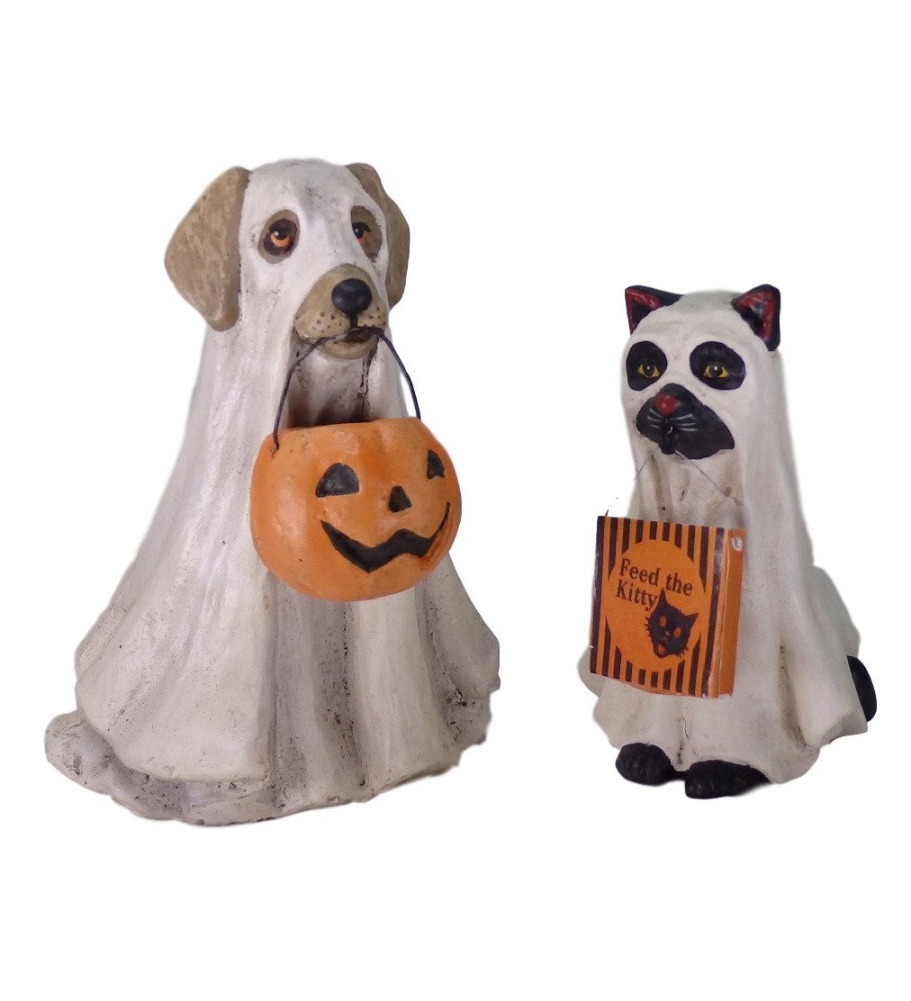 Bethany Lowe Halloween Spooky Ghost Dog and Cat Set of 2 Figurines