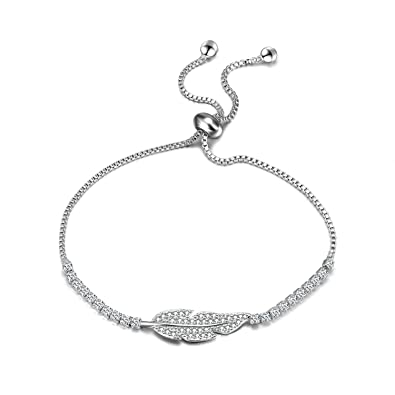 cf645fab3b Amazon.com: WINNICACA Adjustable Leaf Tennis Bracelet 14k Gold ...