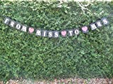 Love Events Bridal Shower Decoration - Bachelorette Hen Party Banner From Miss To Mrs Black, White & Red Bunting