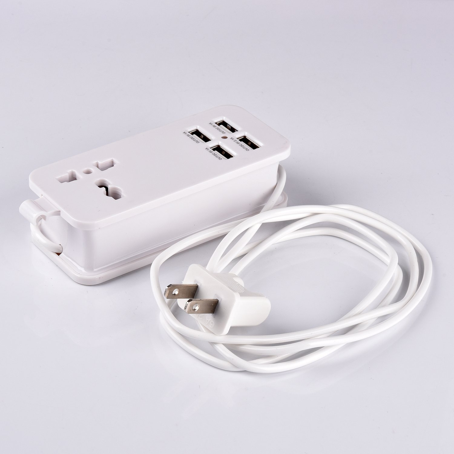 USB Power Strip Portable Travel Charger Outlets 2.1AMP 1AMP 21W 5Foot Power Supply Cord With Universal Plug Input From 100v-240v Power Sockets USB Charger Station 4 Port 5v 1A/2.1A USB Charger (White) by ETPocket (Image #7)