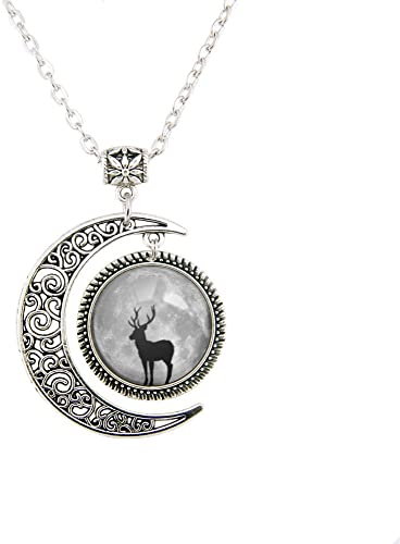 Gold silver deer pendant made with Swarovski crystal stainless steel necklace