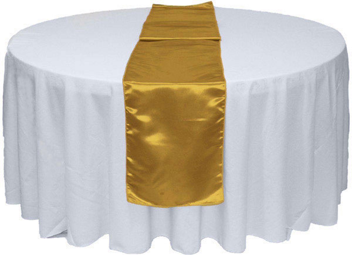 GWHome 12'' X 108'' Satin Table Runner for Wedding Party Banquet Rectangular and Round Table (1, Gold)