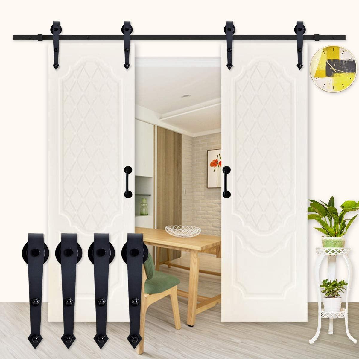 K-Home - Soporte de puerta corredera para dos puertas, estilo vintage, color negro mate: Amazon.es: Bricolaje y herramientas