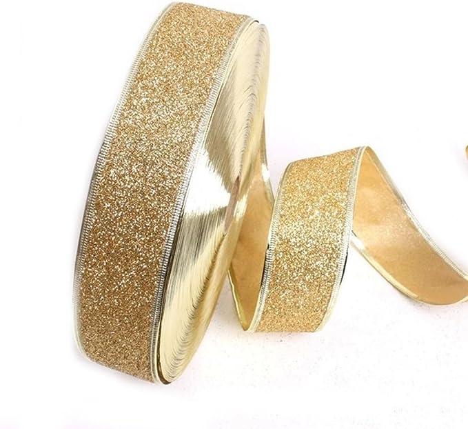 GLITTER GOLD PLASTIC RIBBON Craft Cake Gift Wrap Trim  Scrapbooking DIY 2M