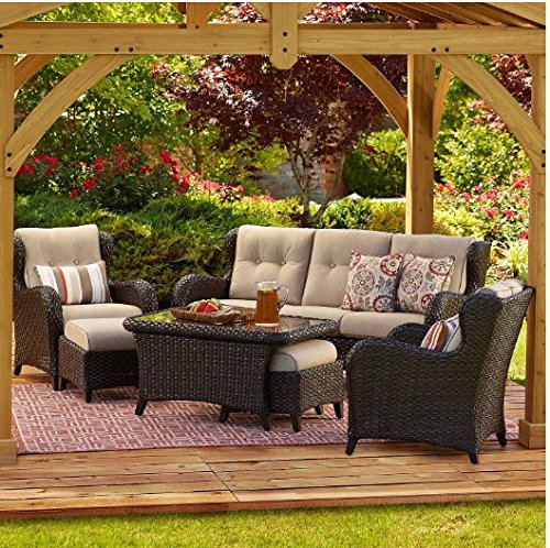 Patio Conversation Set Agio Collection Heritage Sunbrella Fabric and Durable Wicker with Square Pillows Included