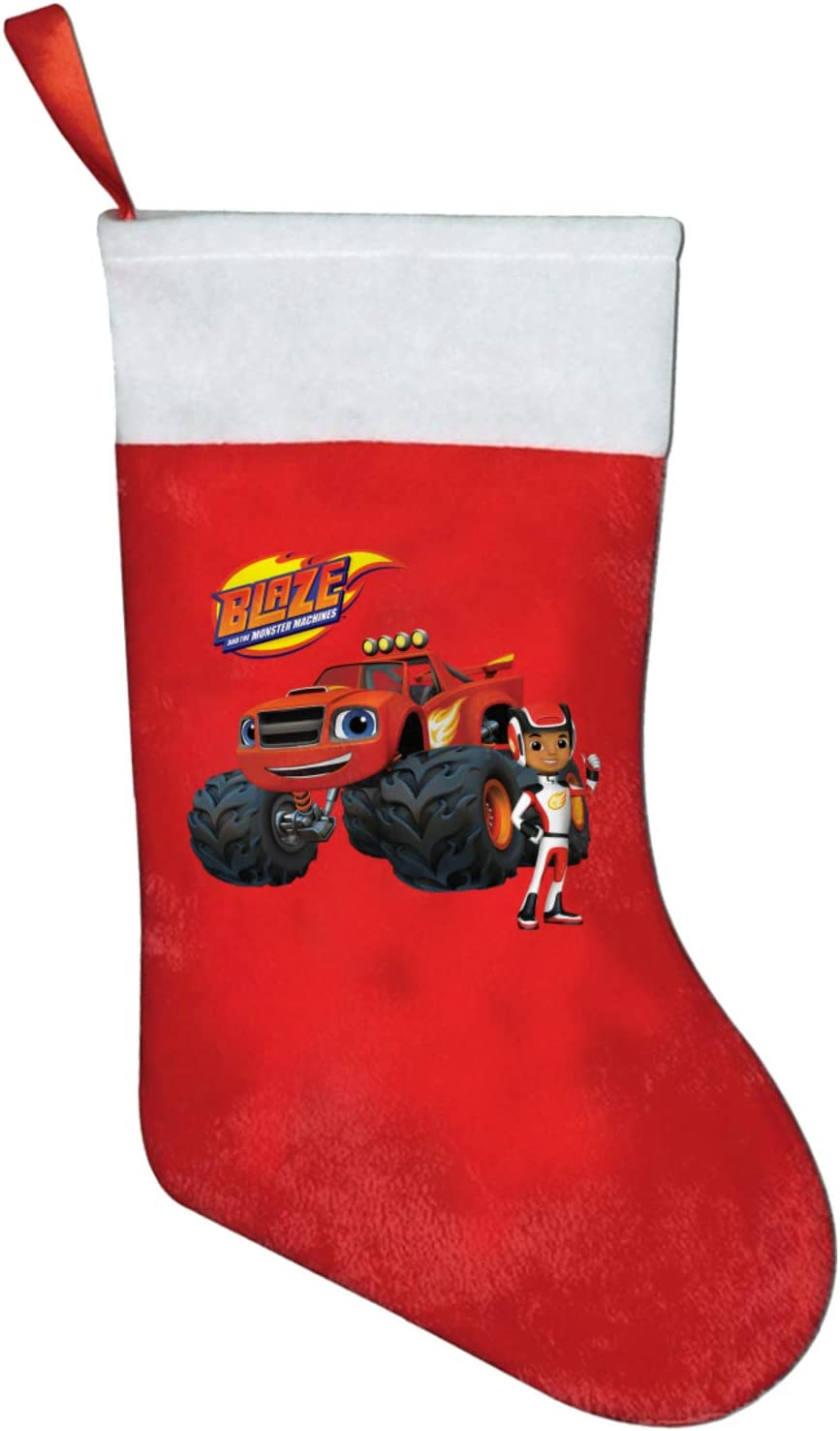 Blaze and The Monster Machines Christmas Stocking Socks Hanging Holiday Candy Gift Bag for Home Party Fireplace Xmas Tree Decor