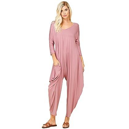 b6a7081bcaac Annabelle Women s Long Sleeve Comfy Harem Jumpsuit Romper with Pockets Ash  Mauve Large J8002