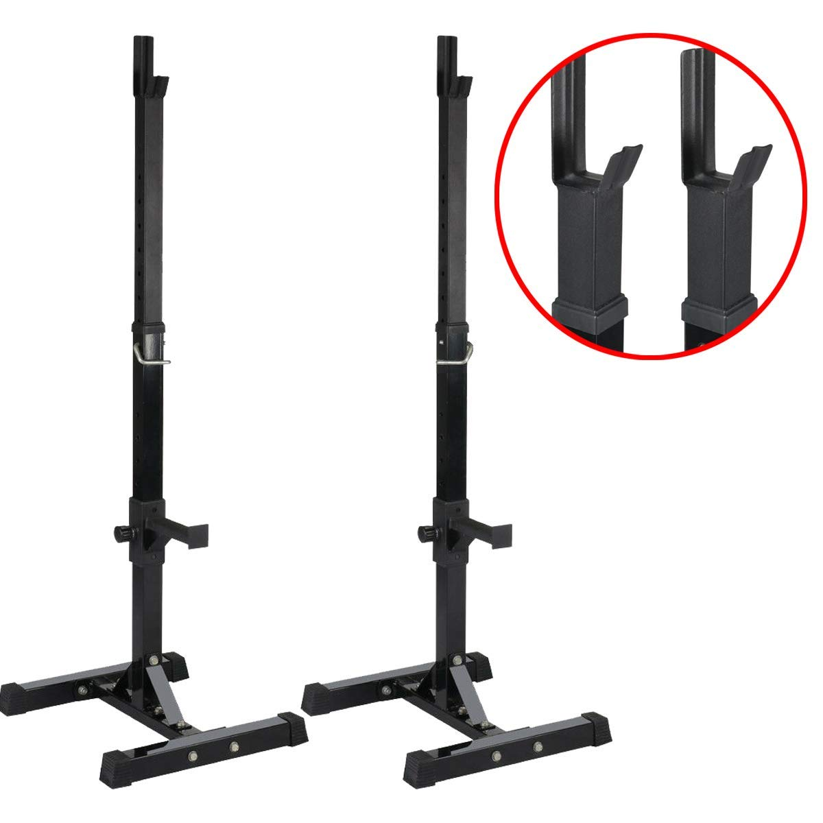 Ramco Steel Portable Squat Power Rack Weight Bench 441LB Capacity | Durable Sturdy Heavy Duty Safety Locking 14 Height Adjustable Suitable Scratch Resistant Easy to Assemble | for Home Gym Exercise by Ramco