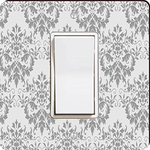 Rikki Knight Shabby Chic Grey Damask Single Rocker Light Switch Plate Chic Rocker