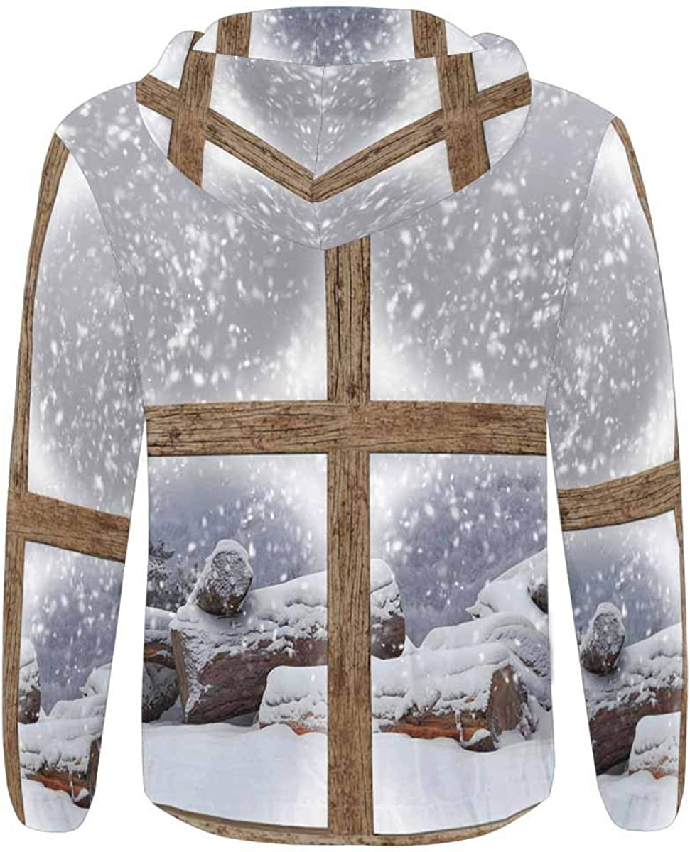 INTERESTPRINT Mens Full Zip Hoodies Jacket Coat Winter Outdoors View with Firewood Pile from Wooden Window