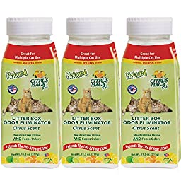 Citrus Magic Pet Litter Box Odor Eliminator, Light Citrus, 11.2-Ounce Shaker (Pack of 3)
