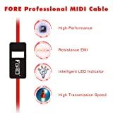 FORE USB IN-OUT Recording MIDI Controller/Interface Snake Cable Professional Piano Keyboard to PC/Laptop/Mac Converter/Adapter MIDI Cable for Home Music Studio Color Red - 6.5Ft