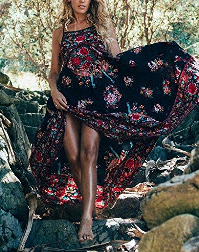 Swing Stampa Maxi Vestiti Spiaggia Vestito Abiti Beach Eleganti Di Pieghe A Vintage Casual Lunghi Estivi Rossi Abito Cinghia Schienale Ad Linea Fiore Vestitini Senza Mare Donna 5ZwqdxUq