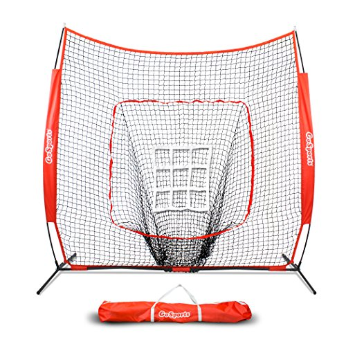 Batting Practice Net - GoSports 7' x 7' Baseball & Softball Practice Hitting & Pitching Net with Bow Frame, Carry Bag and Bonus Strike Zone, Great for All Skill Levels