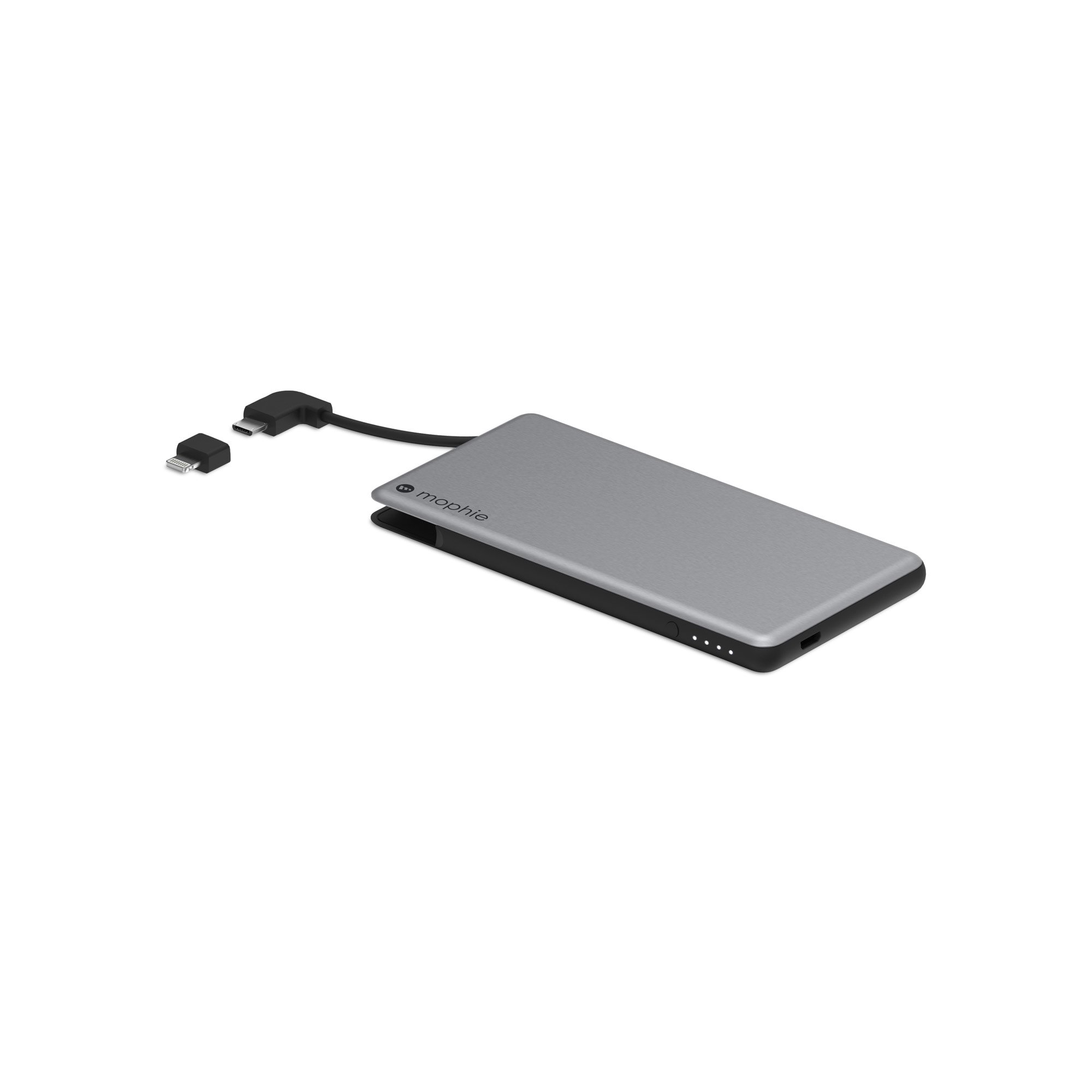 mophie powerstation Plus Mini External Battery with Built in Cables for Smartphones and Tablets (4,000mAh) - Space Grey