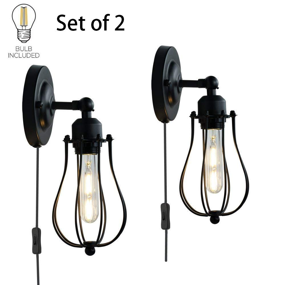 ALLTRUST Set of 2 Wire Cage Wall Sconce Wall Lamp Industrial Plug-in Wall Light Shade Vintage Style Edison E26 Base for Headboard Bedroom Garage Porch Mirror LED Bulbs Included(Set of Two)
