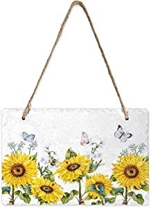 Advancey Welcome Wall Hanging Sign Sunflower Park Butterfly Slate Hanging Plaques Wall Decor for Home Garden Front Door Farmhouse Bar and Cafe- 5.1