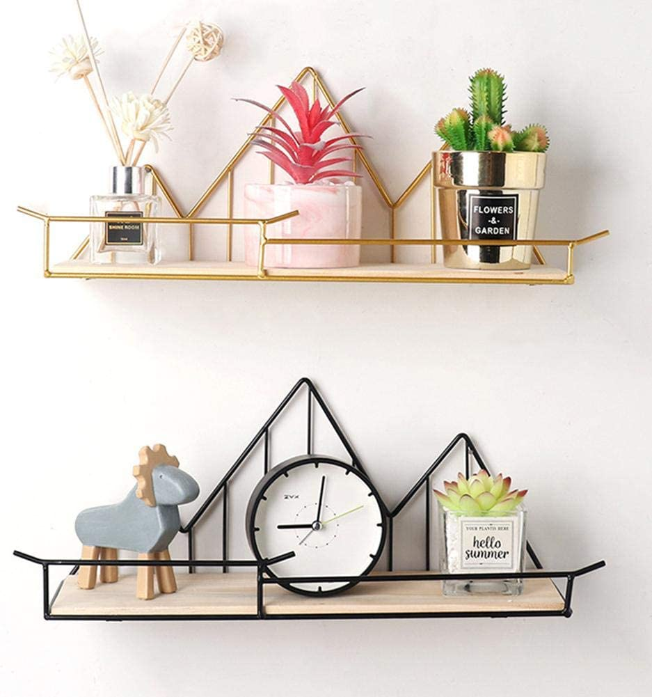 Blue-Yan Nordic Simple Iron Wall Mount Shelf Storage Bracket for Floating Shelf Wall Mount for Living Room Kitchen gold