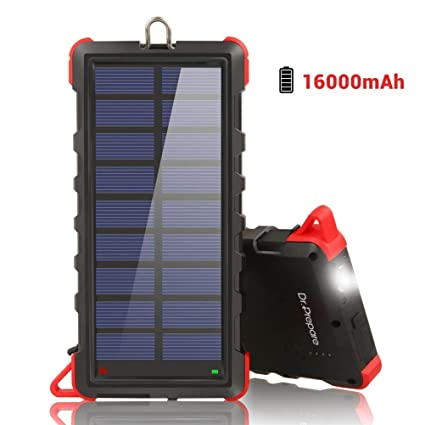 Dr. Prepare Solar Phone Charger Power Bank 16000mAh, IP66 Water-resistant Portable Solar Battery Charger with Dual USB Ports and Outdoor LED ...
