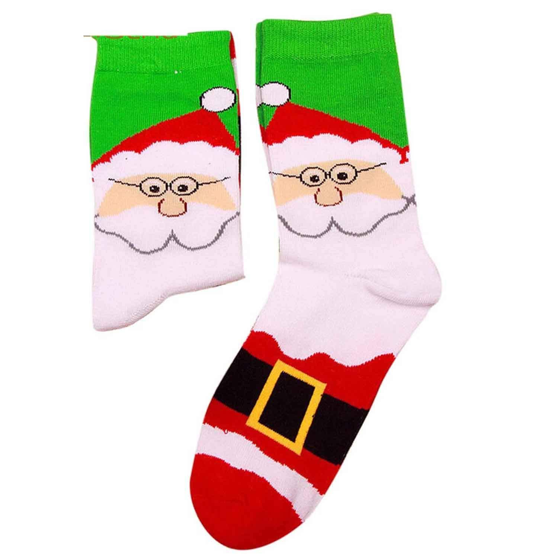Winter Warm Christmas Cartoon Print Long Socks Women Girls Gift