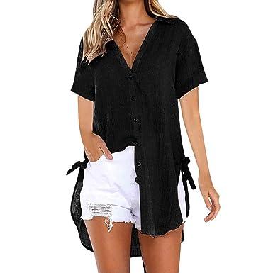 bbd95686b DAYSEVENTH Women Ladies Loose Button Long Shirt Dress Cotton Linens Half  Sleeve Bow Casual Tops T
