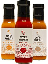 Premium Combo Oye!Mirch Peanut Chili, Tomato Chili and Mango Chili Hot Sauces, 9 oz Each, 3 Pack- Made in California