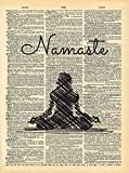 Dictionary Print, Yoga Namaste Pose, Meditation Vintage Dictionary Art Print 8x10 inch Home Vintage Art for Home Decor Wall Decorations For Living Room Bedroom Office Ready-to-Frame