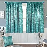 Turquoise Decor Room Darkening Wide Curtains Small Dot Mosaic Tiles Shape Simple Classical Creative Artful Fun Design.jpg Decor Curtains By 84″x84″
