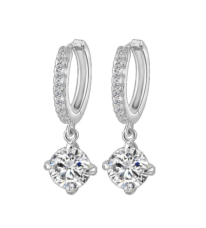 77b87e8313216 Amazon.com: STAYJOY Platinum-plated Brass Dangled Round Diamond ...