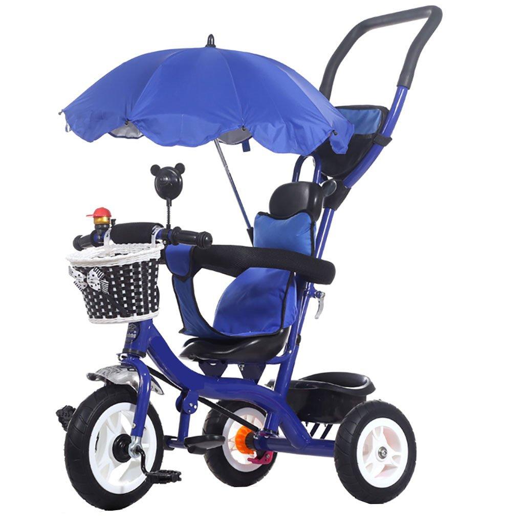 子供用三輪車自転車ベビーカーベビー幼児自転車 (色 : 青)  青 B07PRGKZ7P