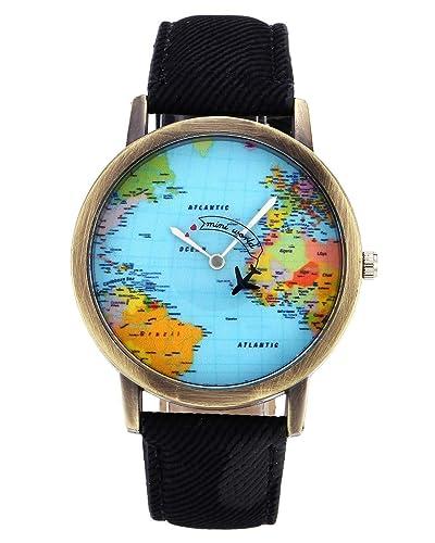 JSDDE Uhren,Vintage Weltkarte Armbanduhr Flugzeug Sekundenzeiger Denim-Gewebe-Lederband Quarz Kleid ...