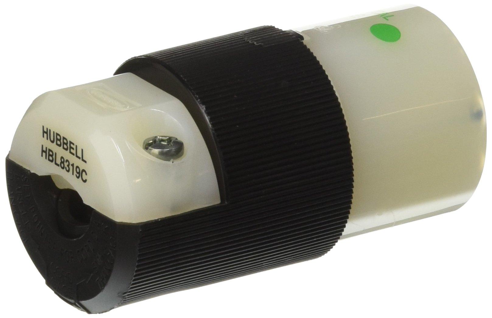 Hubbell HBL8319C Connector, Hospital Grade, 20 amp, 125V, 5-20R, Black/White
