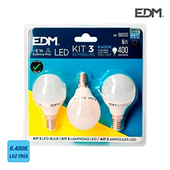 KIT 3 BOMBILLAS LED ESFERICAS 5 W E 14 6.400K FRIA