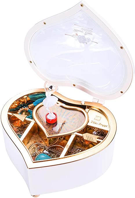 Rotating Dancing Girl Figurine Gift Box for Jewelry Valentines Day yarlung Ballerina Music Box White Heart Shaped Thanksgiving Day New Year Christmas Wedding Trinket Birthday