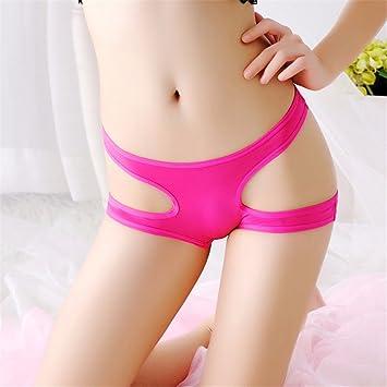 Mujer Sexy entrepierna abrir señoras ropa interior femenina abierta de color puro briefs chanclas G-