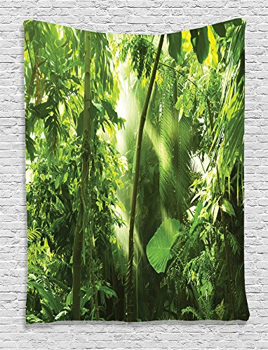 Hanging Jungle Plant (Ambesonne Farm House Decor Collection, Summer Sunbeams Come into Tropical Monsoon Jungle with Bamboos Types of Plants with Leaves View, Bedroom Living Room Dorm Wall Hanging Tapestry, Green)