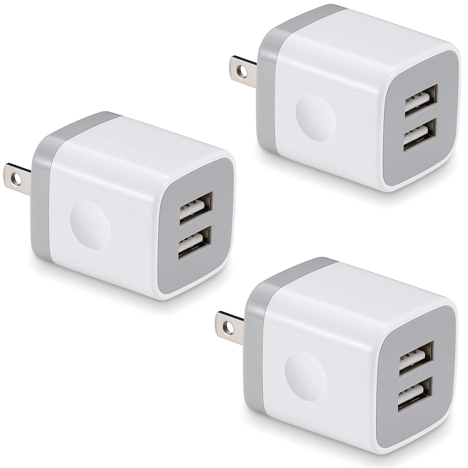USB Wall Charger, BEST4ONE 3-Pack 2.1A/5V Dual Port USB Plug Power Adapter Charging Block Cube Compatible with Phone X 8/7/6 Plus SE/5S/4S, Samsung, Moto, Kindle, Android Phone -White by BEST4ONE
