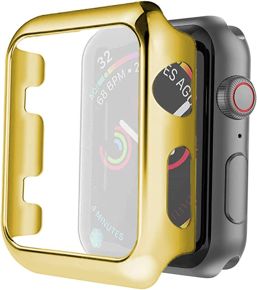 Hard PC Case for Apple Watch Series 4/5/6/SE 44mm Screen Protector,Premium Plating Protective Ultra-Thin PC Plated Bumper Anti-Scratch Full Cover for Apple Watch Series 4/5/6/SE 44mm (Gold)