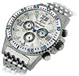 Xezo Men's Air Commando Swiss-Quartz Luxury Sport Chronograph Wrist Watches, 2nd Time Zone. Day, Date. Waterproof 20 Bars