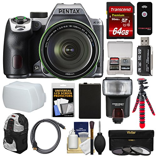 (Pentax K-70 All Weather Wi-Fi Digital SLR Camera & 18-135mm WR Lens (Silver) with 64GB Card + Backpack + Flash + Battery + Tripod + Filters + Remote + Kit)
