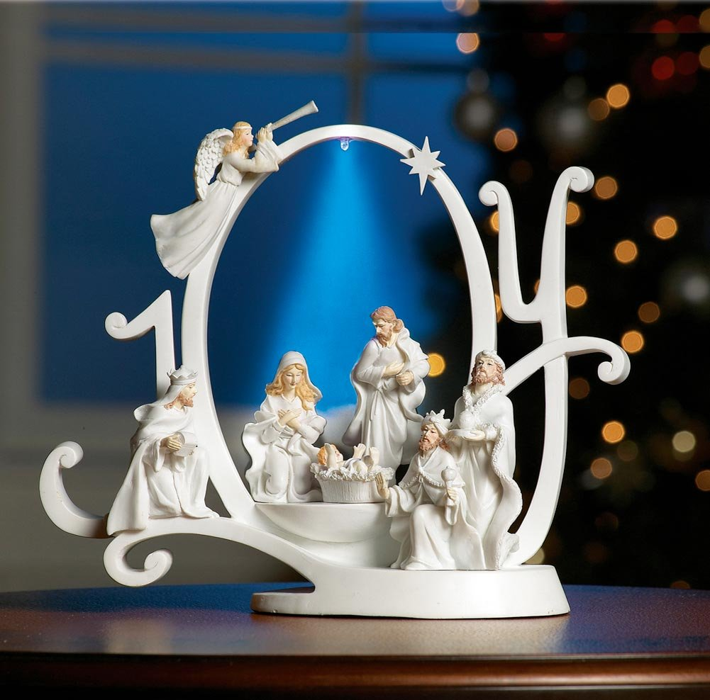 Collections Etc Lighted Joy Nativity Scene Holiday Sculpture