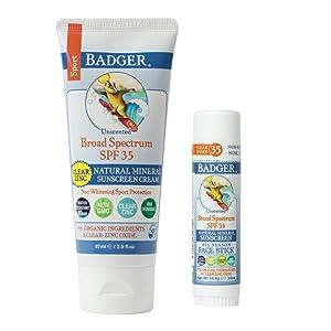 Badger - SPF 35 Clear Zinc Sport Sunscreen Cream, Unscented, 2.9 fl oz & SPF 35 Clear Zinc Sport Sunscreen Stick, Unscented, 0.65 oz