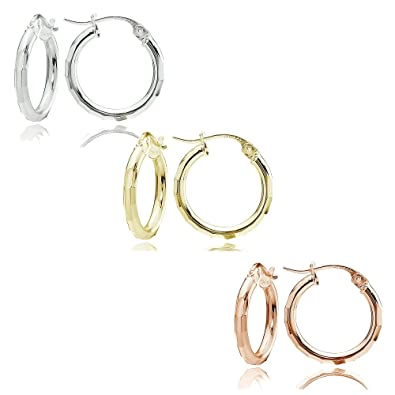 fd94df9e5 Image Unavailable. Image not available for. Color: Sterling Silver Tri  Color 2x15mm Polished Hammered Design Hoop Earrings, Set of 3