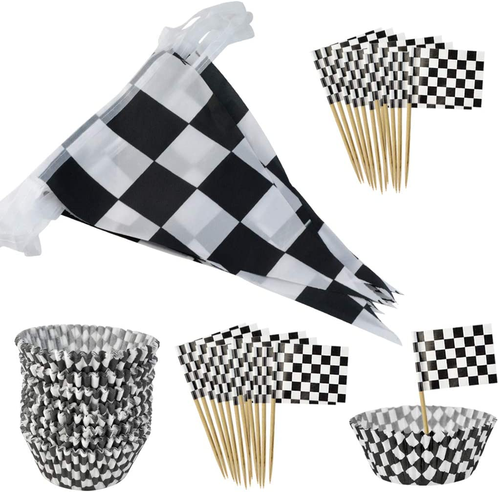 401pcs Checkered Racing Flag Party Cupcake Picks Checkered Cupcake Toppers Mini Flag Food Fruit Picks with 1pc Checkered Flag Banner for Cake Party Decorations Birthday Cocktail Sticks