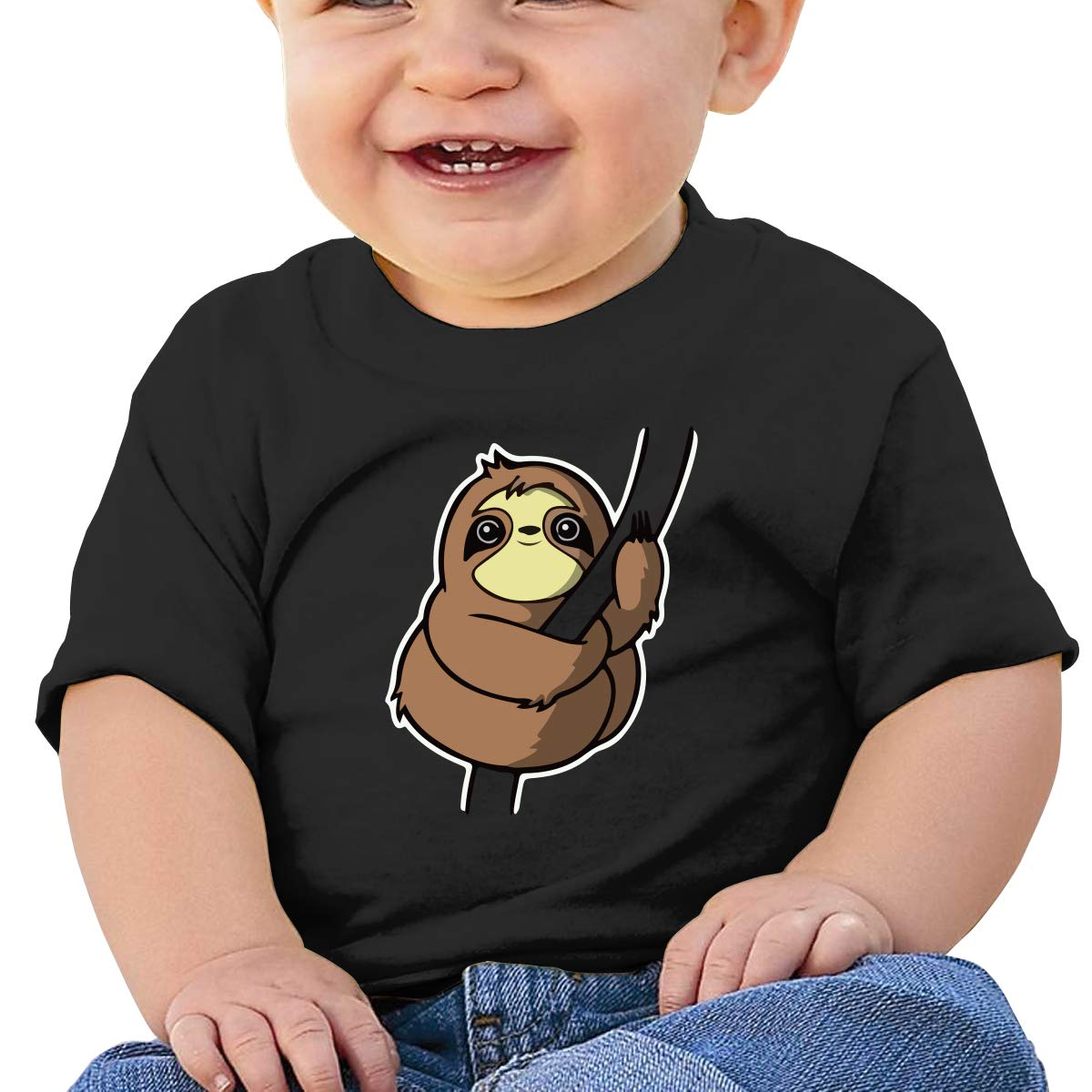 Climbing Sloth Toddler Short-Sleeve Tee for Boy Girl Infant Kids T-Shirt On Newborn 6-18 Months