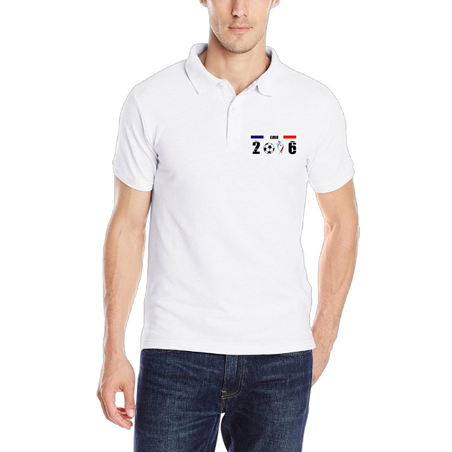 ZMILY Mens Dry 2016 France Euro Football Polo Shirts Short Sleeve Sport White