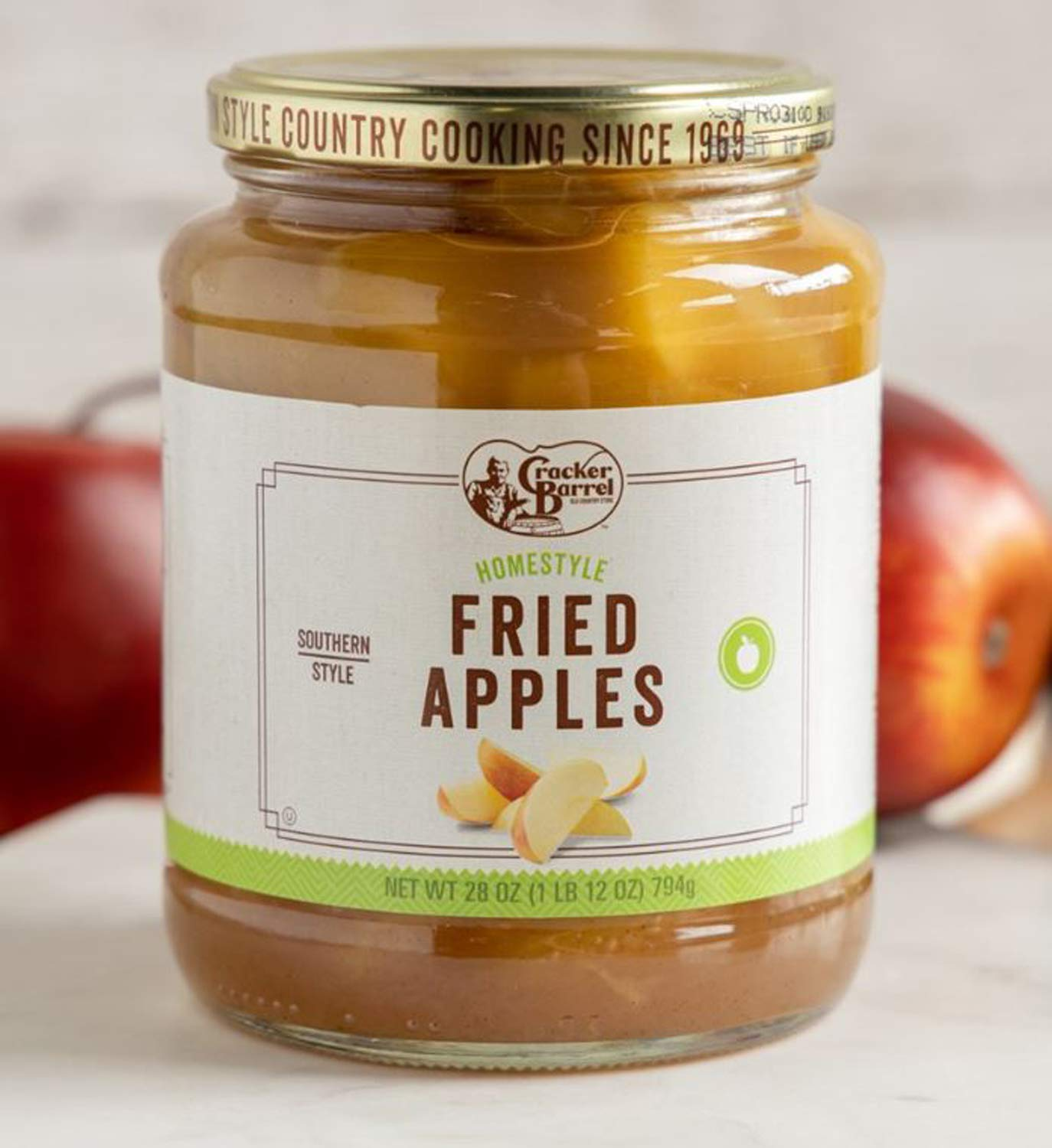 Cracker Barrel Fried Apples Jar 28 Oz! Homestyle Fried Apples! Made with Fresh Apples! Can Be Used In Delicious Homemade Apple Crisp! Perfect For Breakfast Or Lunch Side Dish!