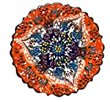 Nazar Turkish Imports ~Hand Painted Ceramic Plate-d:7 inch-Orange