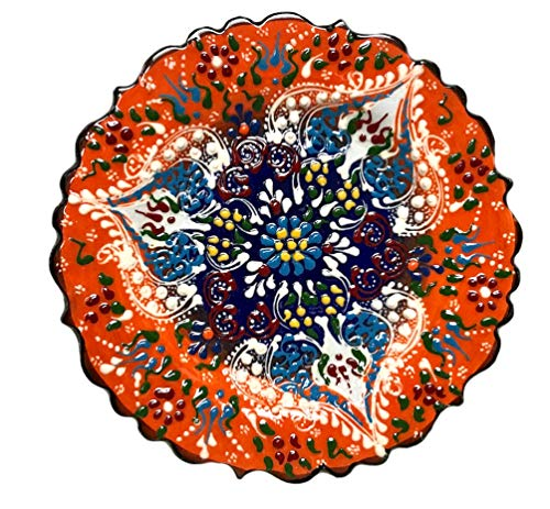 Nazar Turkish Imports ~Hand Painted Ceramic Plate-d:7 inch-Orange