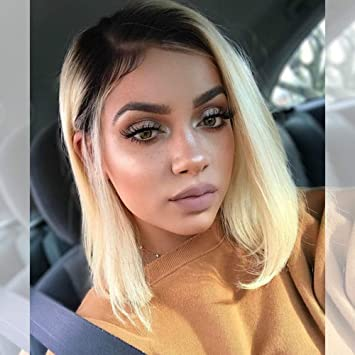 Zigzag Hair Ombre 2tone 1b 613 Blonde Short Bob Lace Front Human Hair Wig For Black Women With
